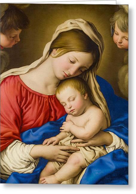 Sassoferrato Greeting Cards - Madonna and Child Greeting Card by Sassoferrato