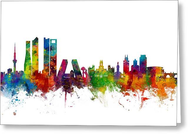 Madrid Spain Skyline Greeting Card by Michael Tompsett