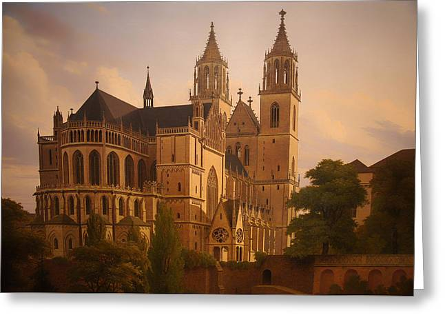 Religious Paintings Greeting Cards - Magdeburger Dom Greeting Card by Carl Hasenpflug