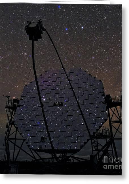 Gamma Rays Greeting Cards - Magic Telescope Mirrors Reflect Stars Greeting Card by Babak Tafreshi