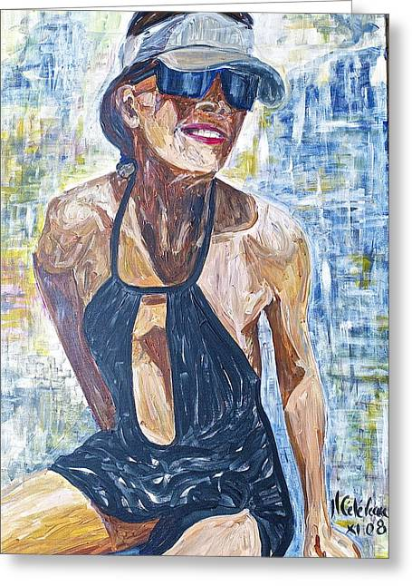 Femal Portrait Greeting Cards - Majestics Pool Cannes Greeting Card by Jean-luc Celereau