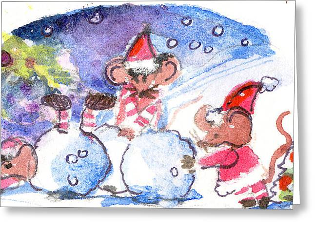 Snow Drifts Drawings Greeting Cards - Making a Snow Mouse Greeting Card by Mindy Newman