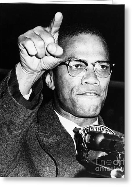 1963 Greeting Cards - Malcolm X (1925-1965) Greeting Card by Granger