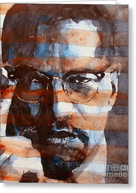 Civil Rights Paintings Greeting Cards - MalcolmX Greeting Card by Paul Lovering