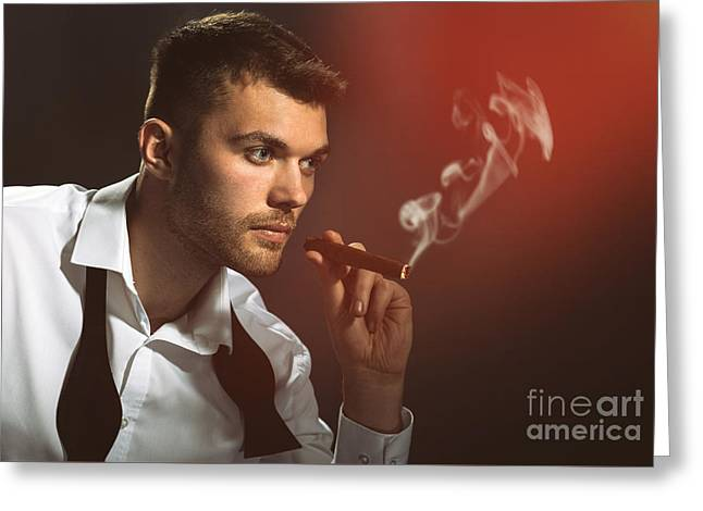 Male Model Smoking Cigar Greeting Card by Amanda And Christopher Elwell