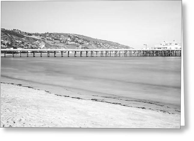 Black And White Photos Greeting Cards - Malibu Pier at Surfrider Beach Black and White Picture Greeting Card by Paul Velgos