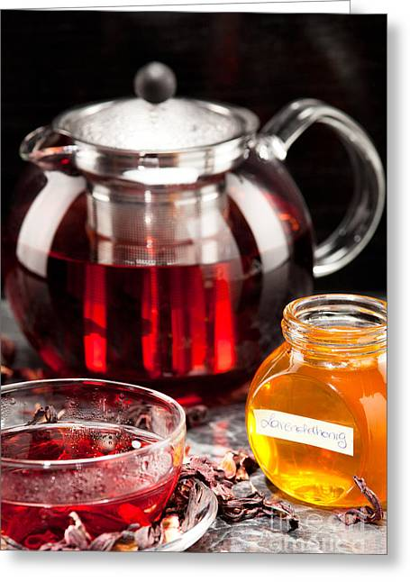 Beverage Greeting Cards - Mallow tea in glass cup with honey Greeting Card by Wolfgang Steiner
