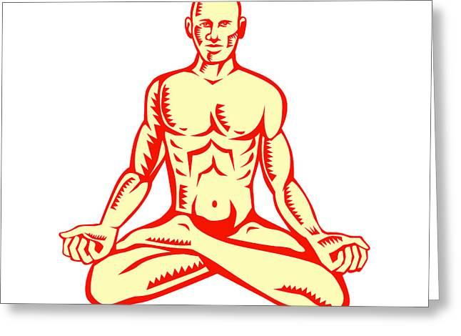 Linocut Greeting Cards - Man Lotus Position Asana Woodcut Greeting Card by Aloysius Patrimonio