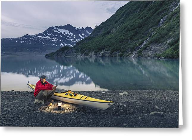 Tablets Greeting Cards - Man Reading On A Electronic Tablet Greeting Card by Kevin Smith