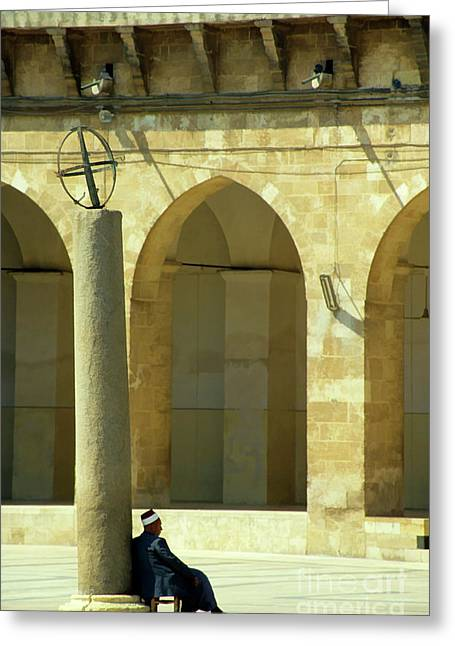 Great Mosque Greeting Cards - Man sitting inside the Great Mosque of Aleppo Greeting Card by Sami Sarkis