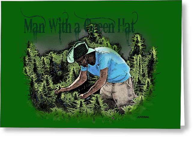 Mj Drawings Greeting Cards - Man with a Green Hat Greeting Card by Joseph Juvenal