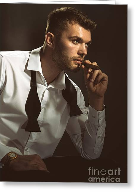 Man With Cigar Greeting Card by Amanda And Christopher Elwell