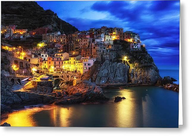 Italian Sunset Greeting Cards - Manarola Greeting Card by Insung Choi