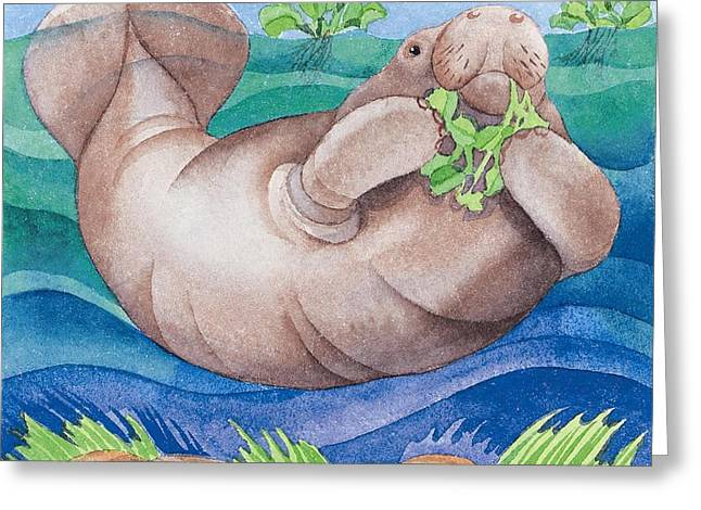 Sea Animals Paintings Greeting Cards - Manatee Friend Greeting Card by Paul Brent