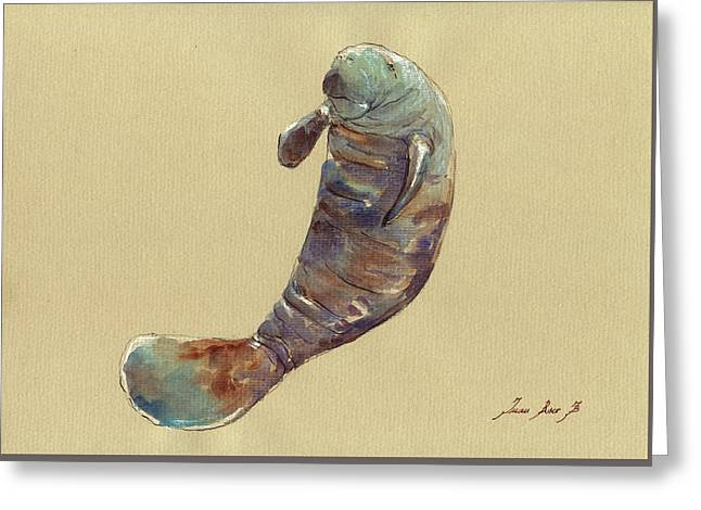 Recently Sold -  - Sea Animals Greeting Cards - Manatee Greeting Card by Juan  Bosco