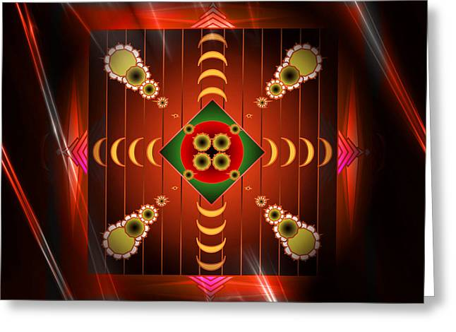 Abstract Style Greeting Cards - Mandala Burning Greeting Card by Mario Carini