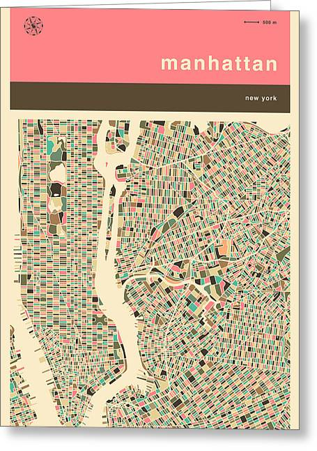 Pink Digital Greeting Cards - Manhattan Map Greeting Card by Jazzberry Blue