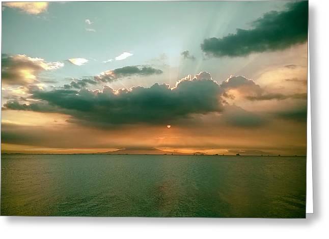 Manila Greeting Cards - Manila Bay Sunset Greeting Card by E N Moredo