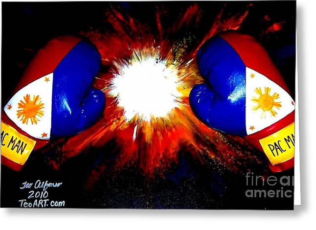 Manny Greeting Cards - Manny Pacman Pacquiao Filipino Boxer Greeting Card by Teo Alfonso