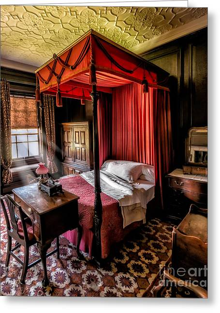 Mansion Bedroom Greeting Card by Adrian Evans