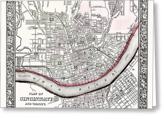 Map Of Cincinnati Ohio 1864 Greeting Card by Mountain Dreams