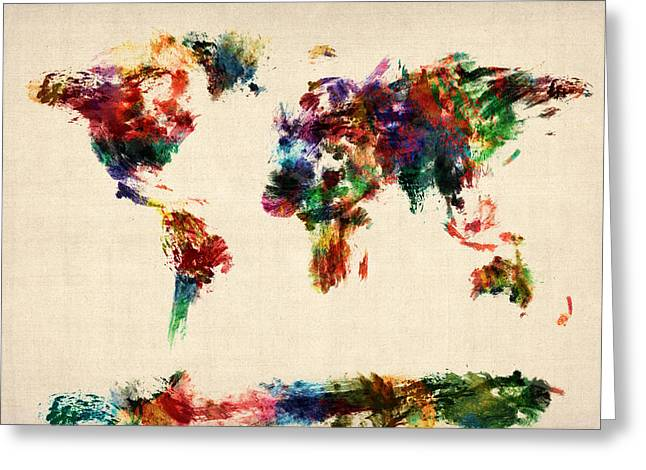 Panoramic Digital Art Greeting Cards - Map of the World Map Abstract Painting Greeting Card by Michael Tompsett