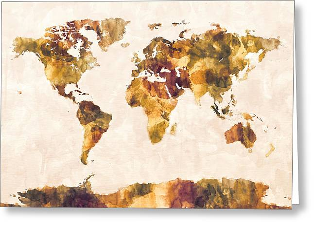 Maps Greeting Cards - Map of the World Map Watercolor Painting Greeting Card by Michael Tompsett
