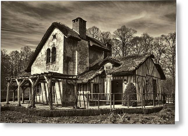 Rustic Buildings Greeting Cards - Marie Antoinette Cottage in Versailles Greeting Card by David Smith