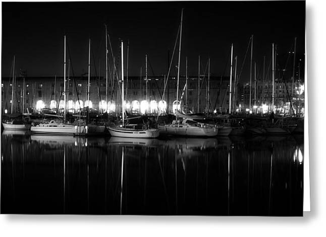 Boats In Harbor Greeting Cards - Marina Reflections - Madrid Greeting Card by Vlada11