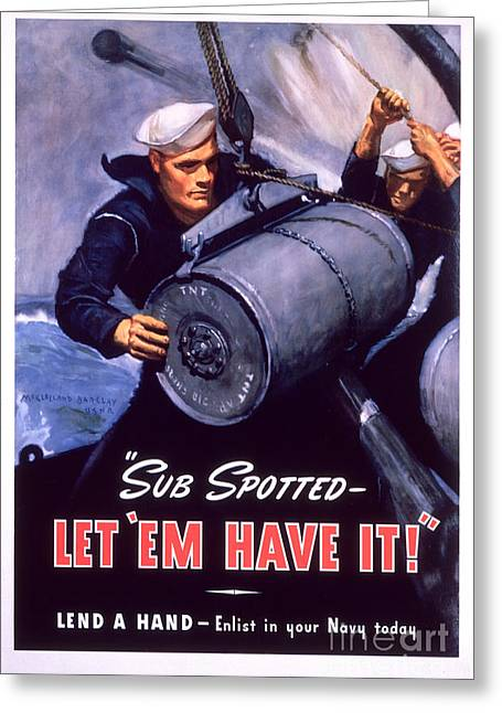 Courage Paintings Greeting Cards - Marine Corps recruiting poster from World War II Greeting Card by Celestial Images