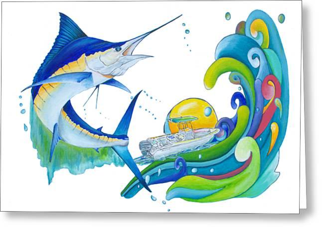 Marlin Key West Greeting Card by Shelly Tschupp