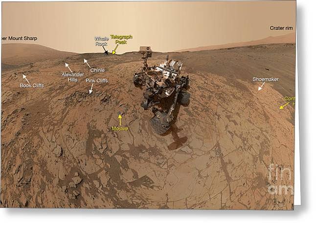 Curiosity Rover Greeting Cards - Mars Curiosity Rover At Mount Sharp Greeting Card by Science Source
