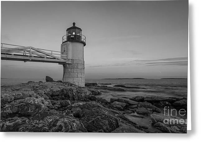 Sailboats In Water Greeting Cards - Marshall Point Lighthouse Sunset bw Greeting Card by Michael Ver Sprill