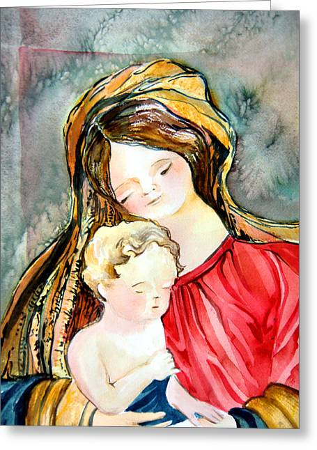 Mary And Baby Jesus Greeting Card by Mindy Newman