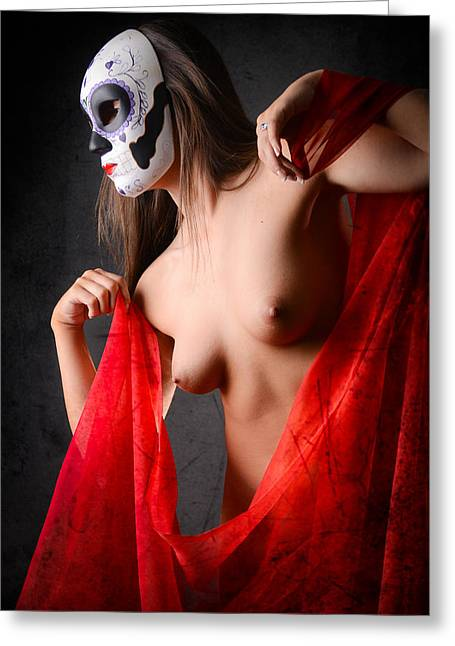 Conceal Greeting Cards - Masked Lady in red Greeting Card by Jt PhotoDesign
