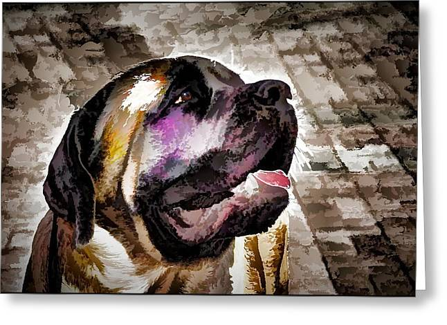 Dogs Digital Greeting Cards - Mastiff Greeting Card by Alexey Bazhan