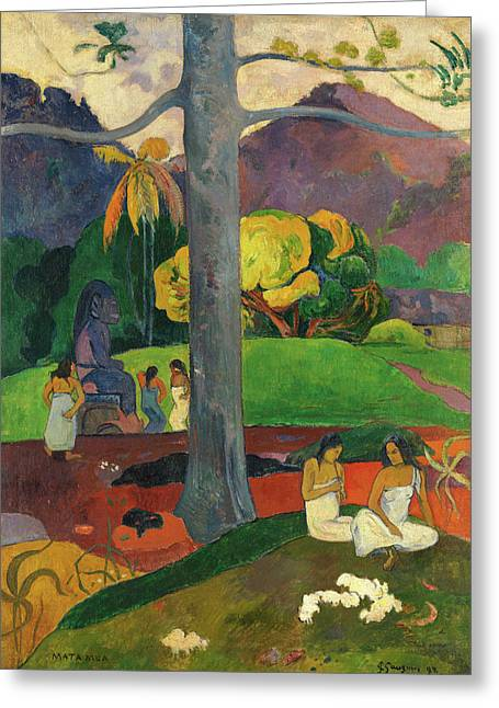 Gauguin Style Greeting Cards - Mata Mua  Greeting Card by Paul Gauguin