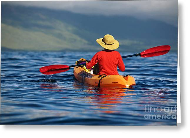 Pull Greeting Cards - Maui Kayaker Greeting Card by Ron Dahlquist - Printscapes