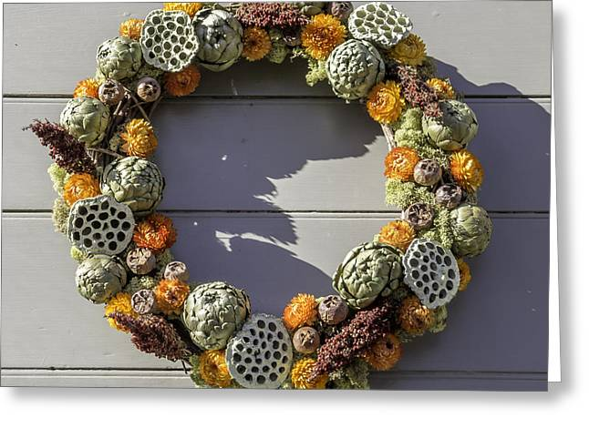 Carter House Greeting Cards - McKenzie Apothecary Wreath Greeting Card by Teresa Mucha