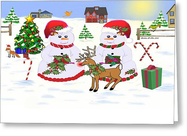 Meadow Snowmen - Deck The Boughs Greeting Card by Madeline  Allen - SmudgeArt