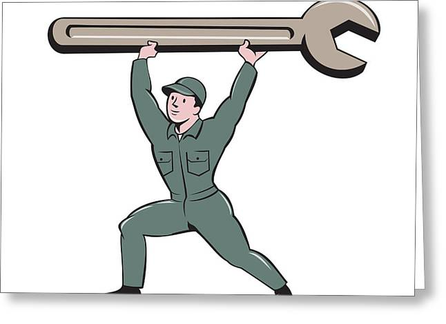 Overalls Digital Greeting Cards - Mechanic Lifting Spanner Wrench Cartoon Greeting Card by Aloysius Patrimonio