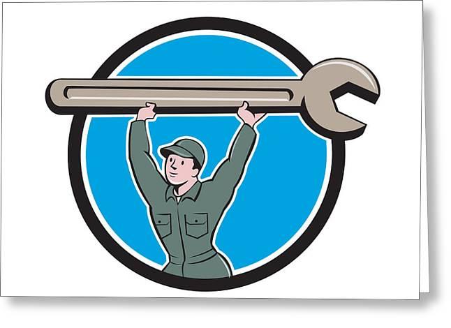 Overalls Digital Greeting Cards - Mechanic Lifting Spanner Wrench Circle Cartoon Greeting Card by Aloysius Patrimonio