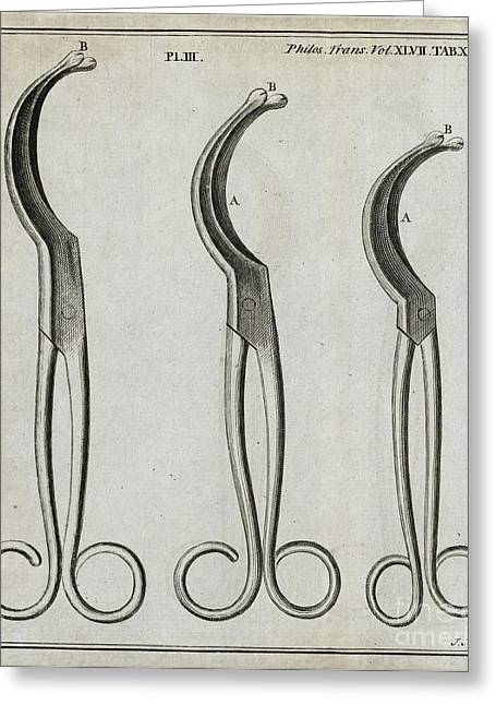 Le Cat Greeting Cards - Medical Forceps, 18th Century Greeting Card by Middle Temple Library