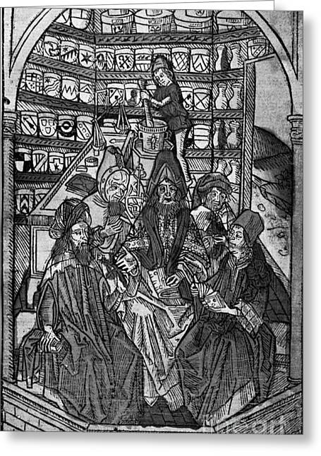 Middle Ages Greeting Cards - Medieval Pharmacy Greeting Card by Science Source