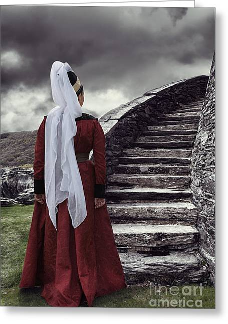 Stone Steps Greeting Cards - Medieval Woman Greeting Card by Amanda And Christopher Elwell