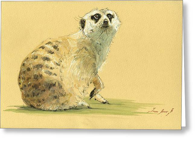 Safari Prints Greeting Cards - Meerkat or Suricate painting Greeting Card by Juan  Bosco