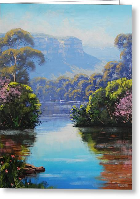 Impressionist Creek Oil Paintings Greeting Cards - Megalong Creek Greeting Card by Graham Gercken