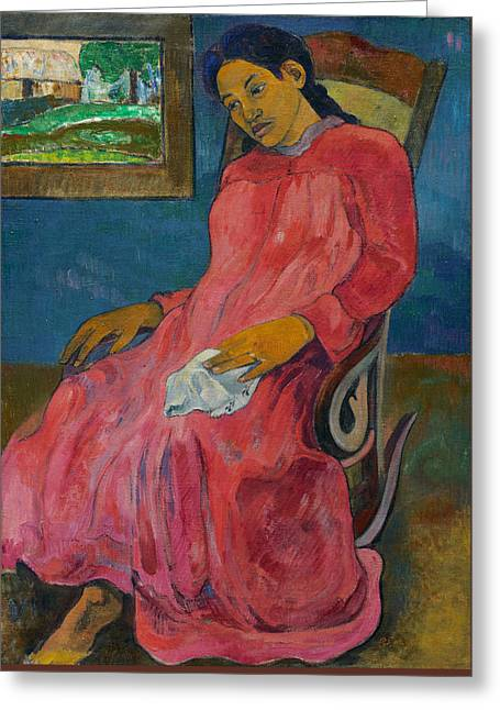 Fuchsia Dress Greeting Cards - Melancholic Greeting Card by Paul Gauguin