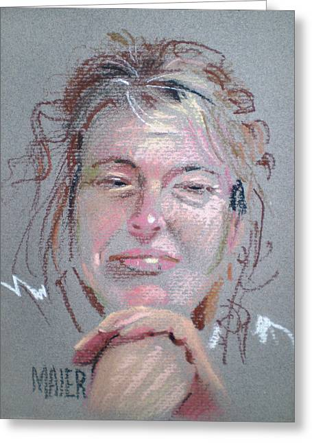 Pastel Portrait Greeting Cards - Melissa Greeting Card by Donald Maier
