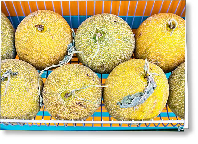 Cantaloupe Greeting Cards - Melons Greeting Card by Tom Gowanlock